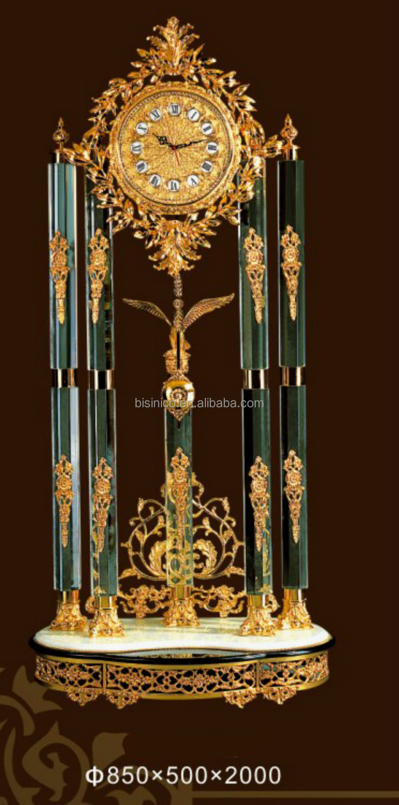 Bisini Luxury Crystal Brass Clock Living Room Luxury Clock