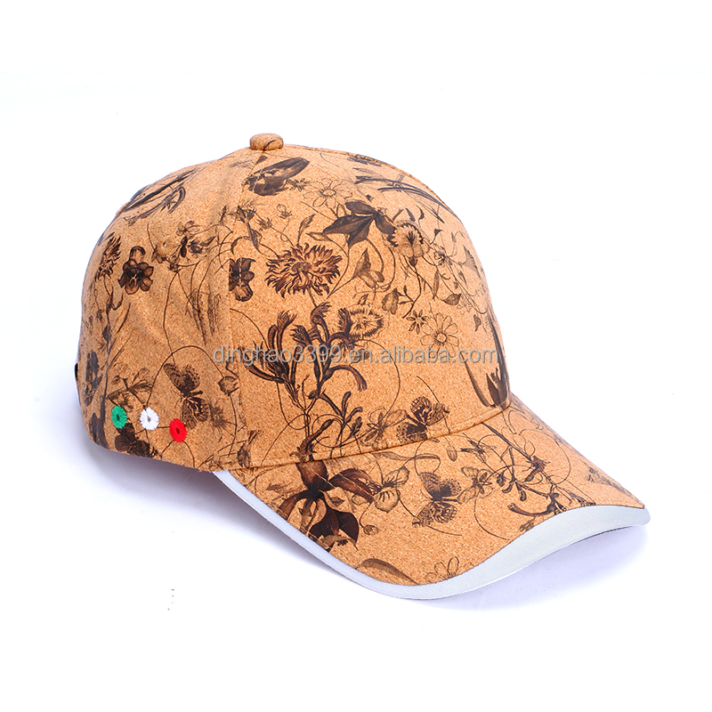 China suppliers latest design cork cap,custom printed floral cork sun hat,eco-friendly cork snapback hats