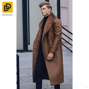 New winter full fur lining coat men's long fur leather coat
