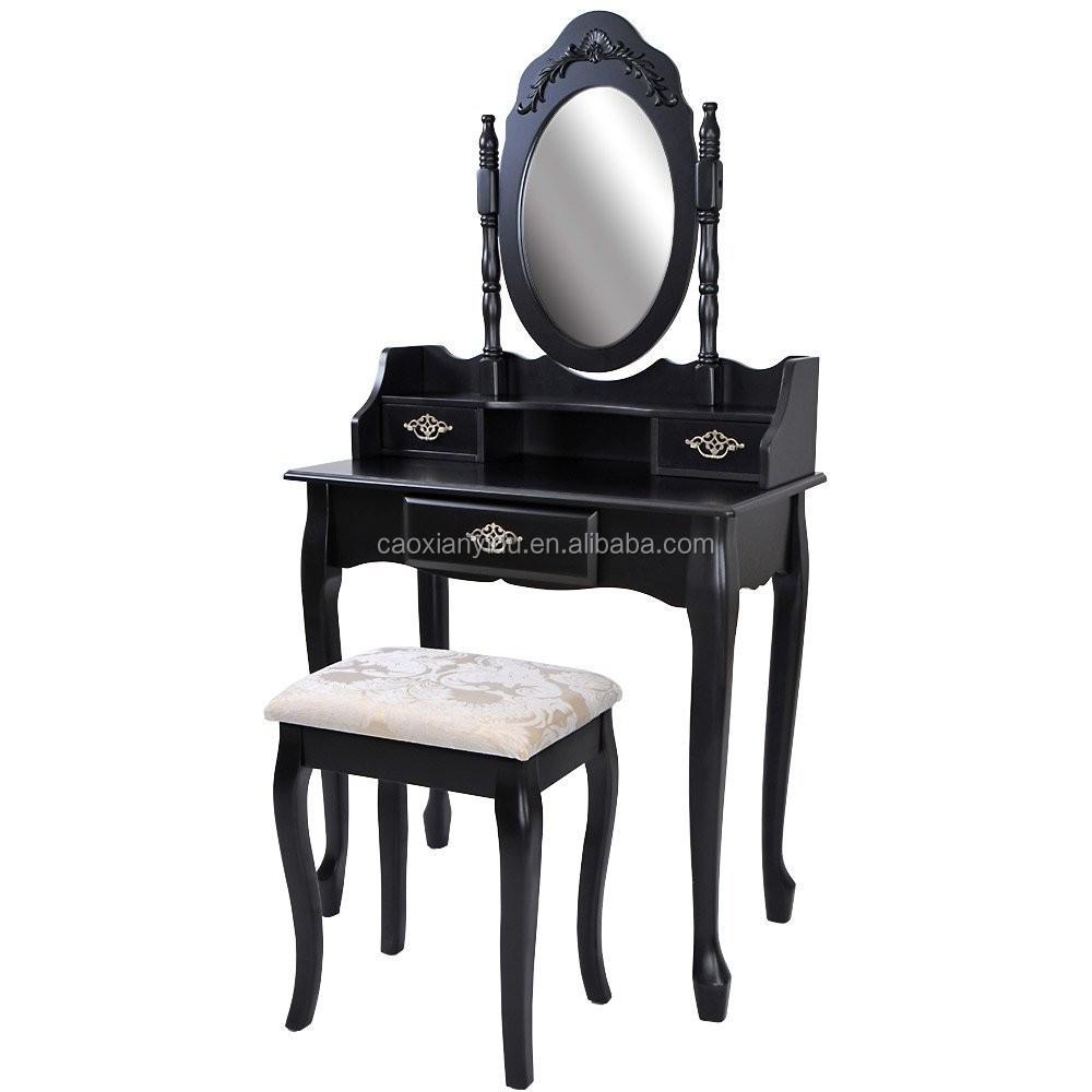 Zwarte Franse stijl kaptafel met ovale spiegel-dressoirs-product ...