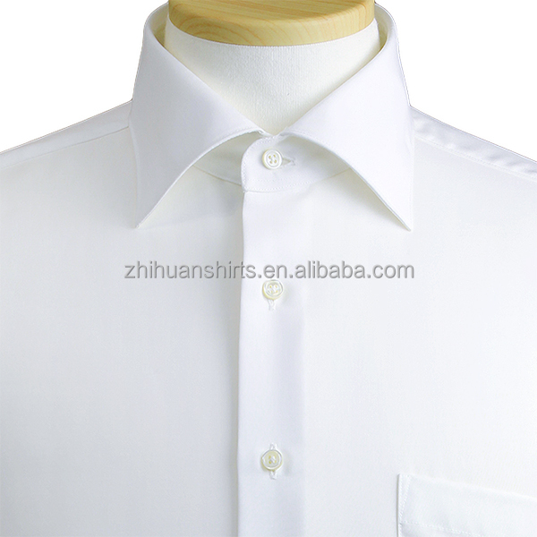 Classic White Lapel Collar Long Sleeve Mens Casual Shirts , classic white mens shirts
