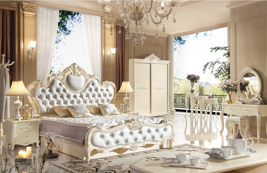 Royal Style King Size White Bedroom Furniture Set Designs - Buy ...
