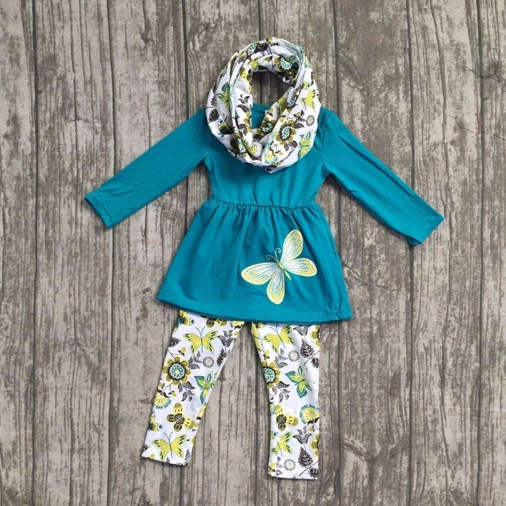 FALL/Winter baby girls outfits 3pieces scarf jader butterfly long sleeve pant boutique flower children cotton clothes kids wear