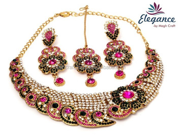 Indian Wedding Wear Rhinestone Necklace Set Bollywood Style