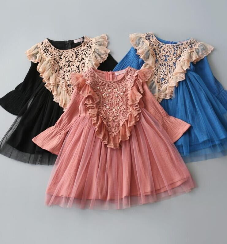 2017 Girls Dress Cotton lace Princess Party Long sleeve Dress Childrens Clothes Blue Black Pink