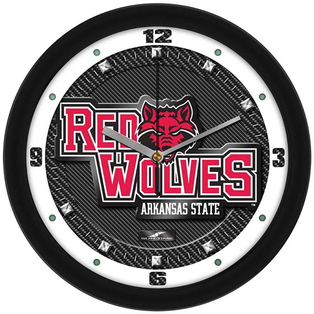 """Arkansas State Red Wolves 12"""" Carbon Fiber Textured Wall Clock"""