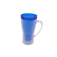 Frosted Cup Ice Cup Maker Plastic Double Wall Freezer Beer Mug 15oz With Straw And Lid