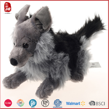 2017 Bsci Audit Realistic Grey And Black Wolf Plush Toy China