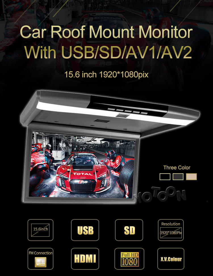 "15.6"" Roof Mounted Flip Down Monitor for bus, flip down Roof Mount Car DVD player with AV1,AV2,HIDM"