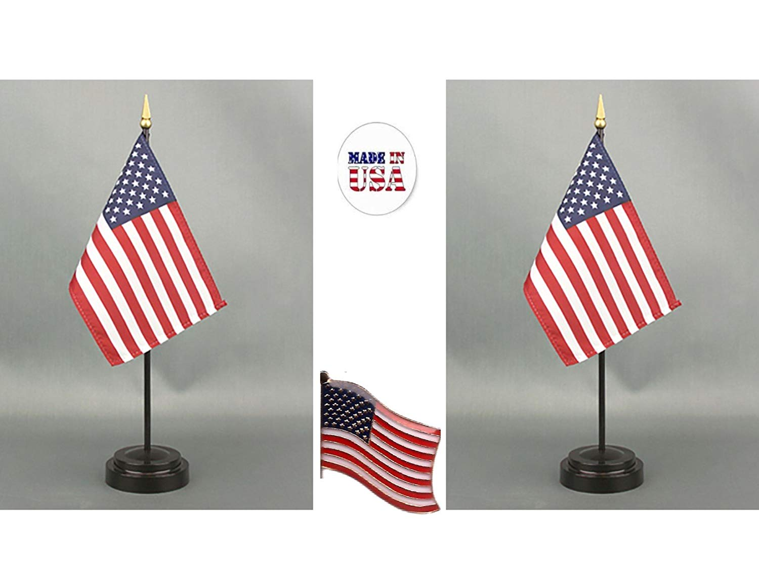 """Made in The USA. 2 United States of America 4""""x6"""" Miniature Office Desk & Little Hand Waving Table Flags Includes 2 Flag Stands & 2 USA Small Mini Stick Flags, Plus 1 American Flag Lapel Pin."""