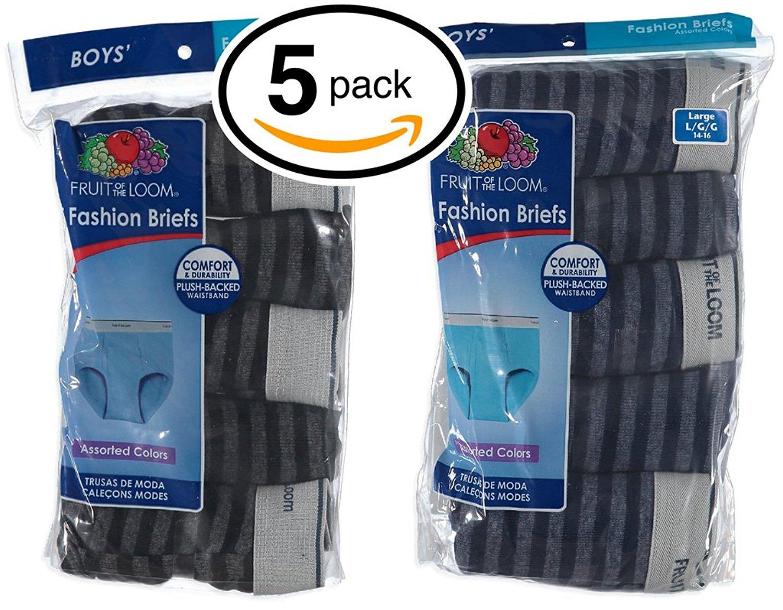 Fruit of the Loom Boys 5Pack Striped 100% Cotton Briefs Kids Underwear L