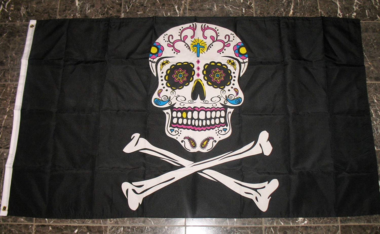 Pirate Skeleton Sugar Skull Flag 3'x5' Crossbones Banner
