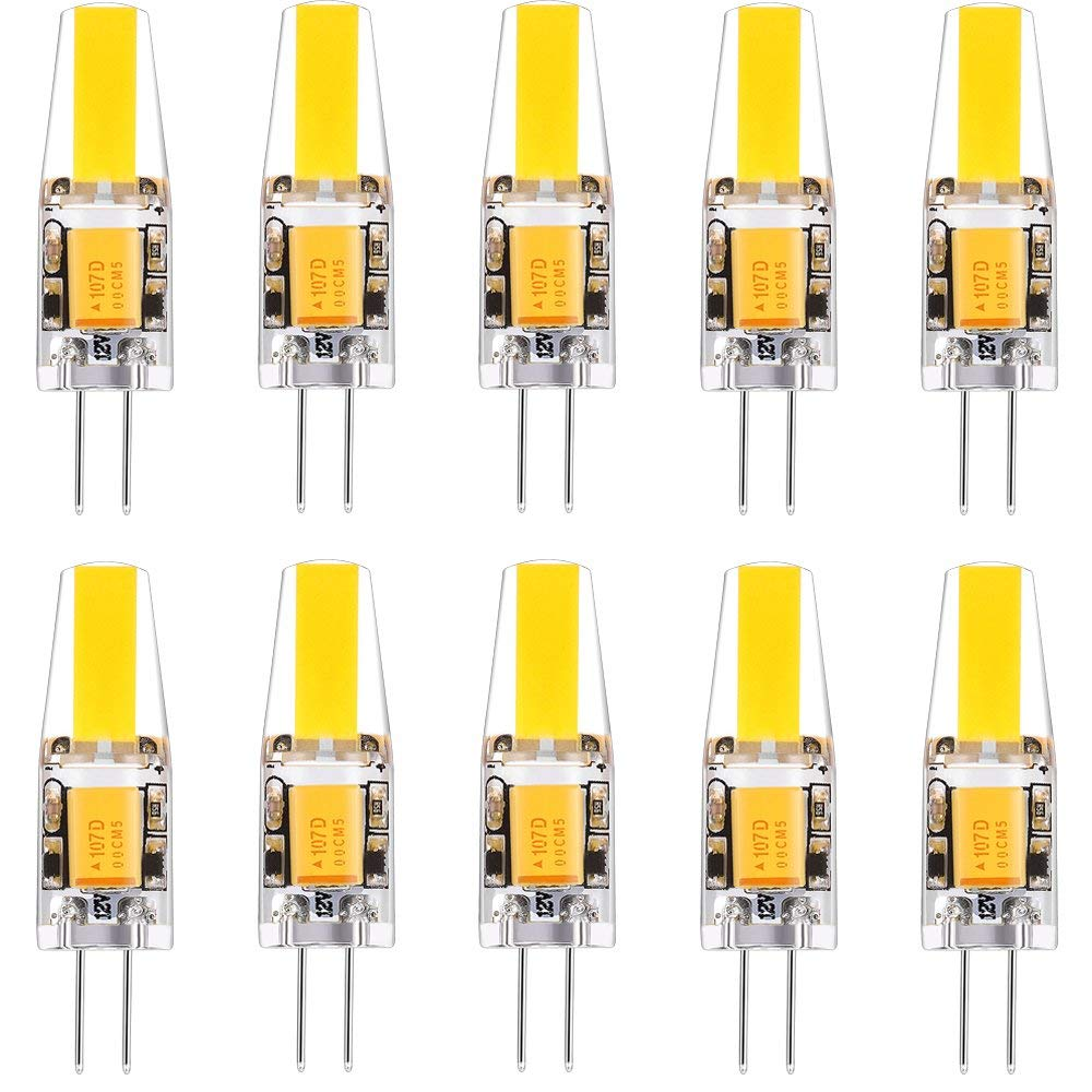LED Light Bulb G4 Bulb Bi-Pin Base Lamps and Fixtures 2Watts Wram White 3000k AC/DC 12Volt 360° Beam Angle for Landscape 10pack