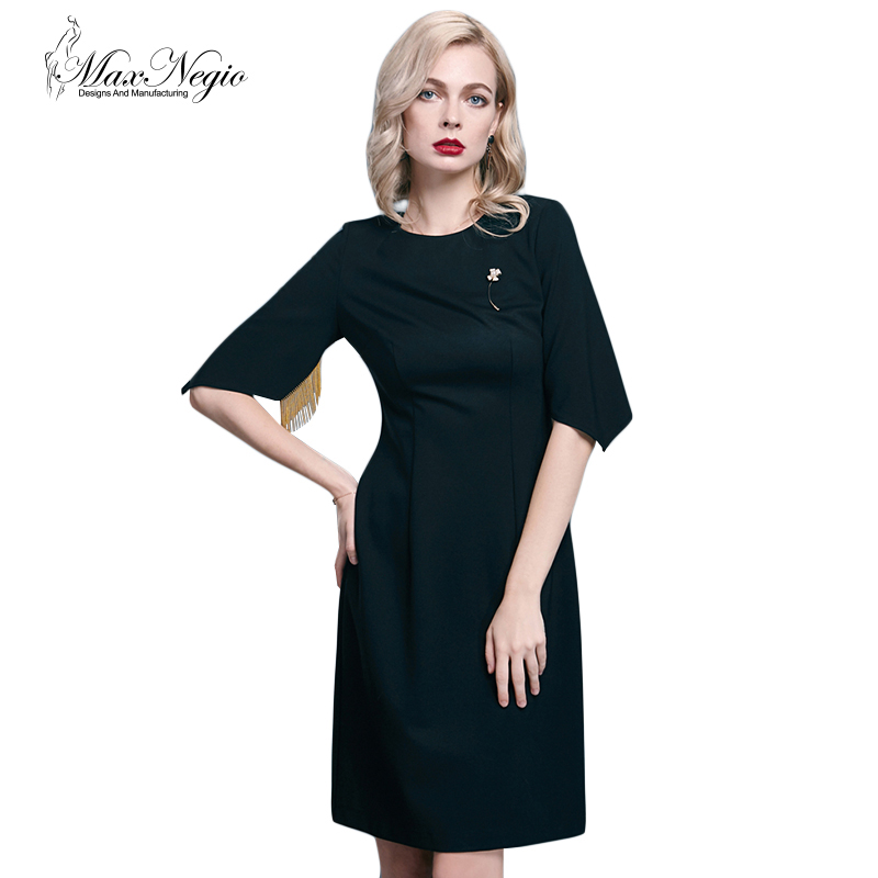 Maxnegio OEM/ODM Ladies Fashion Dress Half Slim Grey & black Dress