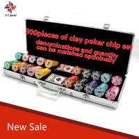 300pieces and 500pieces clay poker chip set with customzied sticker