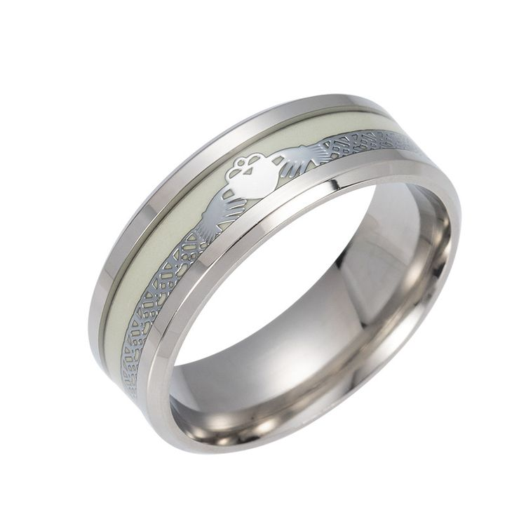 Popular Silver Stainless Steel Fashion Jewelry Rings Glowing In The Dark Ring for Men