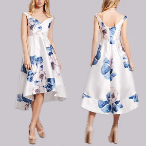 clothing factory in china printed high low hem midi dress tropical floral print forever new dresses for women wholesale