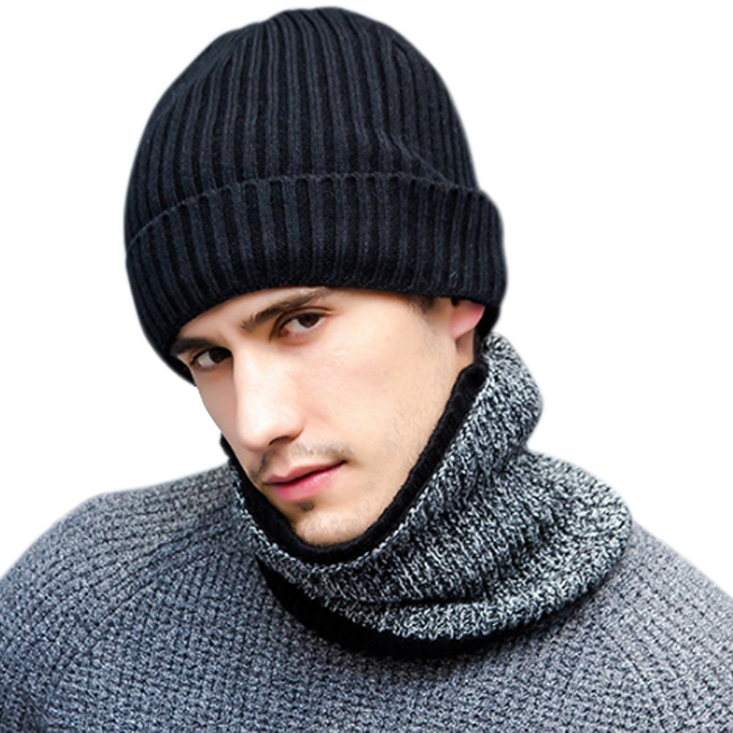 19a76b373b2 Get Quotations · JOYEBUY Stylish Men 3 Pcs Warm Winter Set Wool Knitted  Beanie Hat + Scarf + Touch
