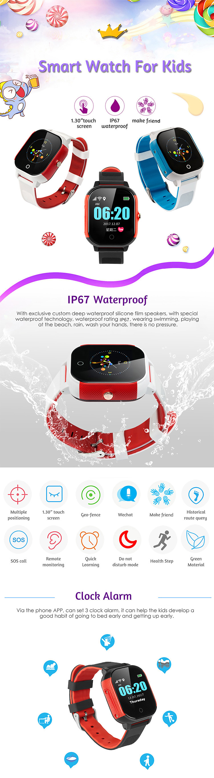 IP68 Deep Waterproof SOS Wifi Child Safety Tracking Device 2g Adult Smart Kids Watch GPS Locator