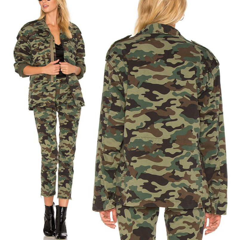 Cheap amy green running camouflage jacket for women