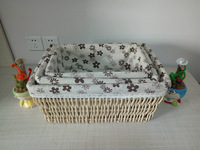 rectangular willow storage basket with liner,YSS-1702 S/3