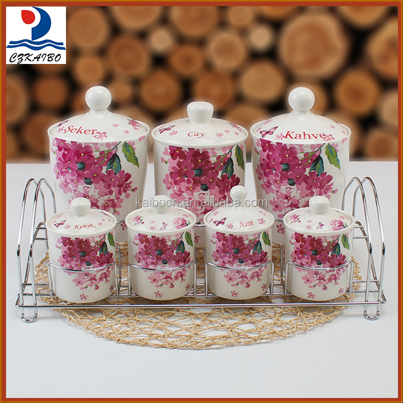 China wholesale cheap ceramic canister with metal stand