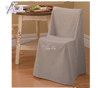 beige wholesale polyester folding chair covers with square top for folding chair decorations