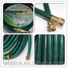 different size 3-ply pvc garden hose with connector and nozzle