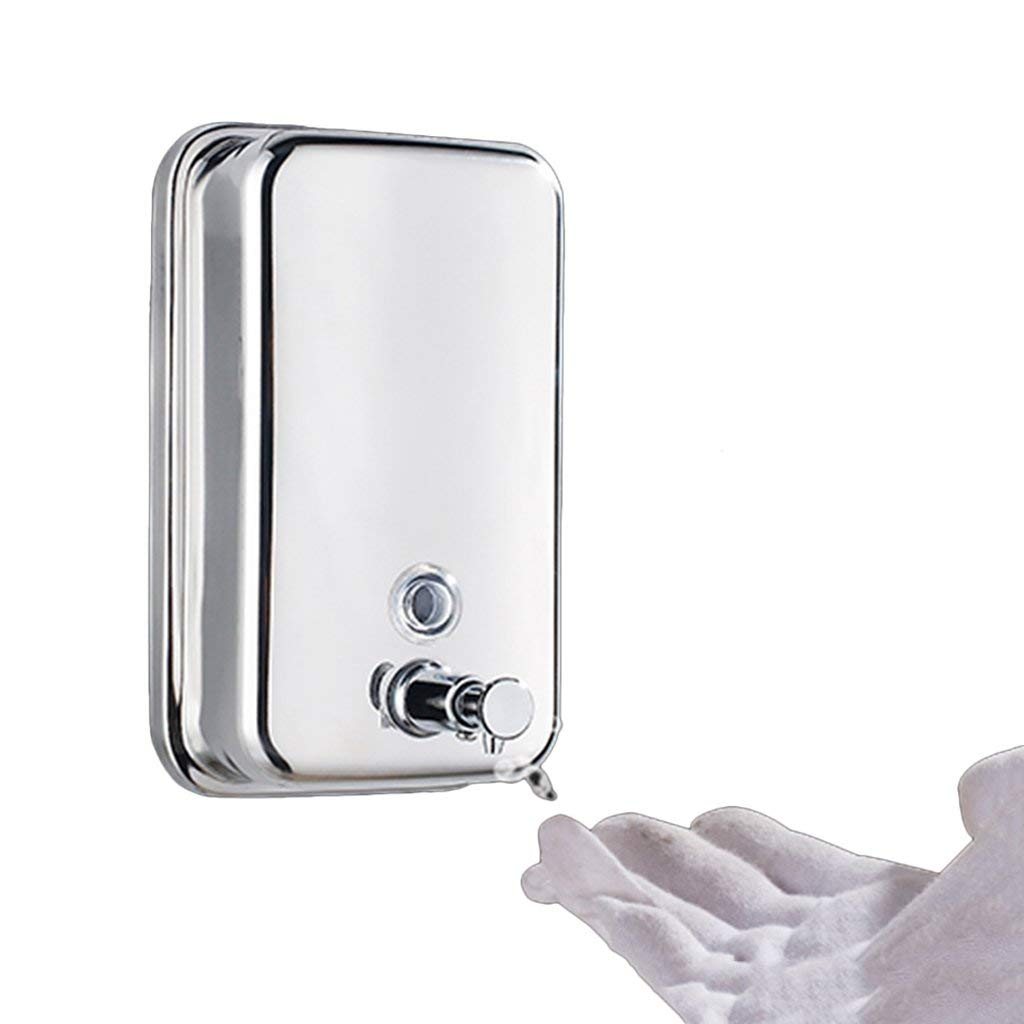 Soap dispenser manual stainless steel hotel wall hanging soap bottle hand sanitizer bathroom soap liquid hand sanitizer (Color : Silver, Size : 6.512.520cm)