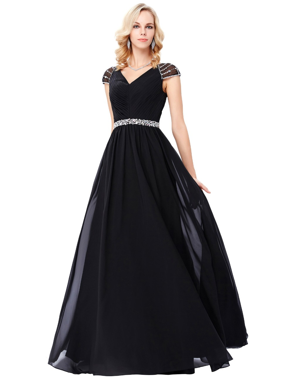 Grace Karin Cap Sleeve V-Neck Black Long Chiffon Prom Dress 8 Size US 2~16 GK000135-1