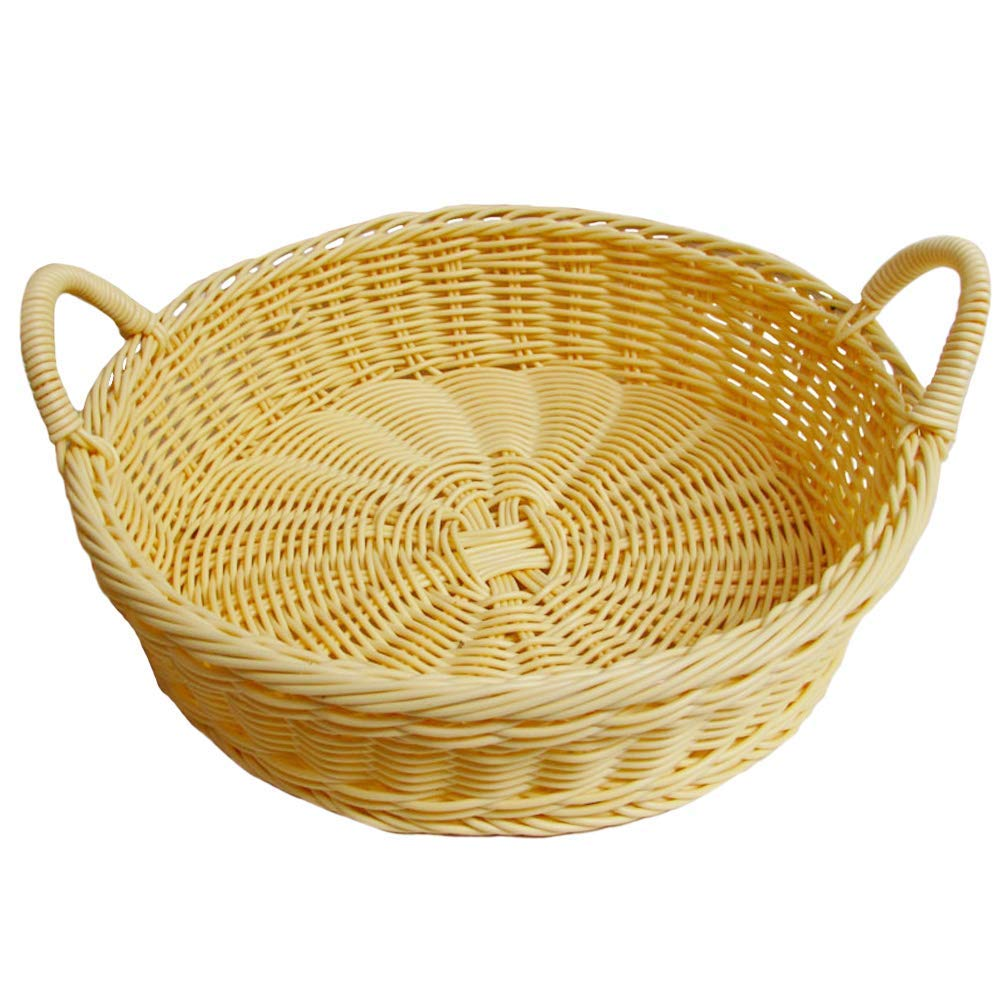 Food Serving Baskets, Imitation Rattan Hand Woven Round Bread Storage Basket With Double Handle, Snack Food Bread Storage Basket, for Restaurant/Kitchen/Coffee Table Display Decoration Baskets