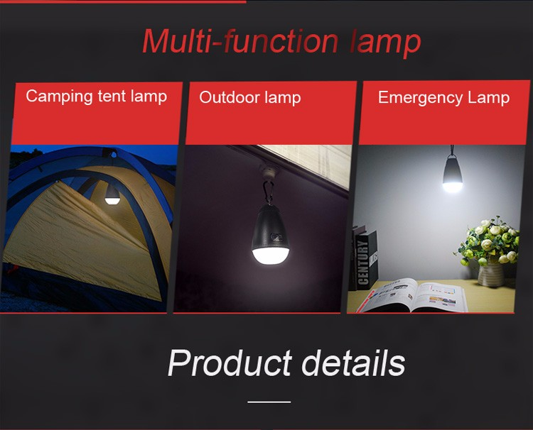 Shenzhen Zhongyihai UY-Q5 Led Bulb 18650 built-in Lithium Battery Led Camping Light for Tent Fishing Hiking Hunting Outdoor