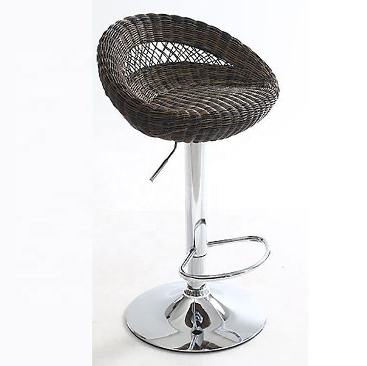 High Quality Creative Lifting Wicker Chair Braided Swivel Bar Chair Stool Bird Nest Shaped Bar Stool Ergonomic Adjustable Height Bar Chairs