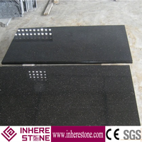Low price black galaxy granite tile 600x600