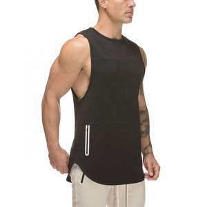 Wholesale mens gym fitness tank top muscle tank top plain screen printed stringer sports vest with pocket for men