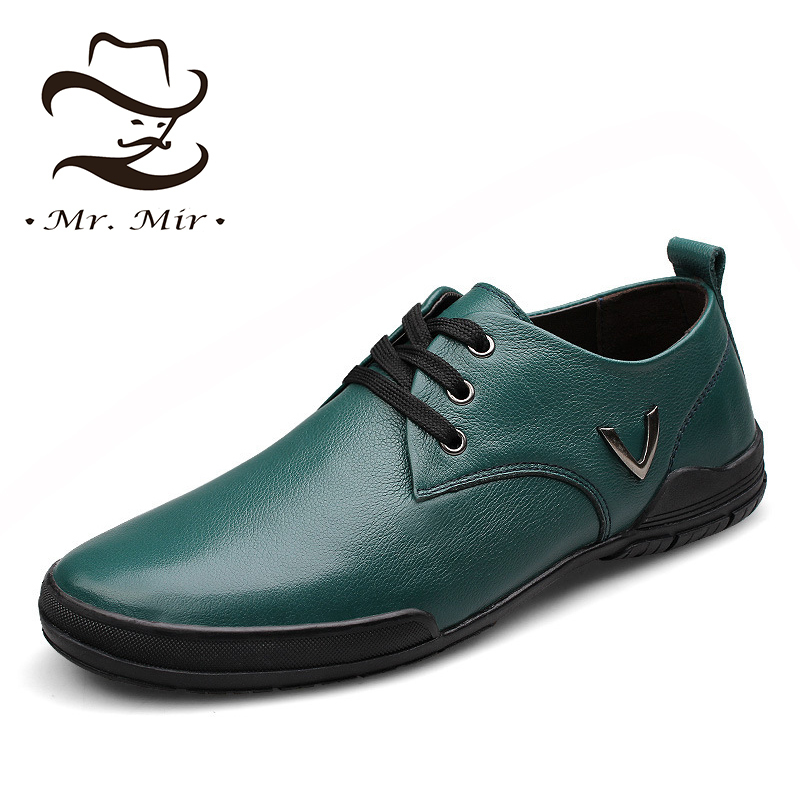 Mr Mir Fashion New Style Genuine Leather Men Flats, Casual Brand Leather Men Sneakers, High Quality Big Size Leather Men Shoes