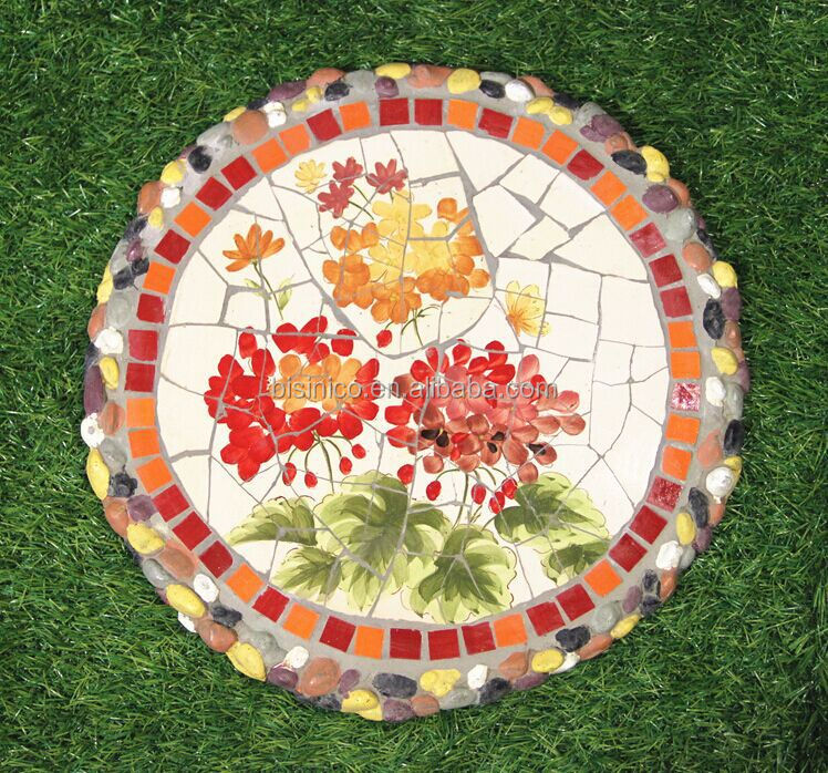 Ceramics mosaic stepping stone mexico style outdoor for Decorative garden stones