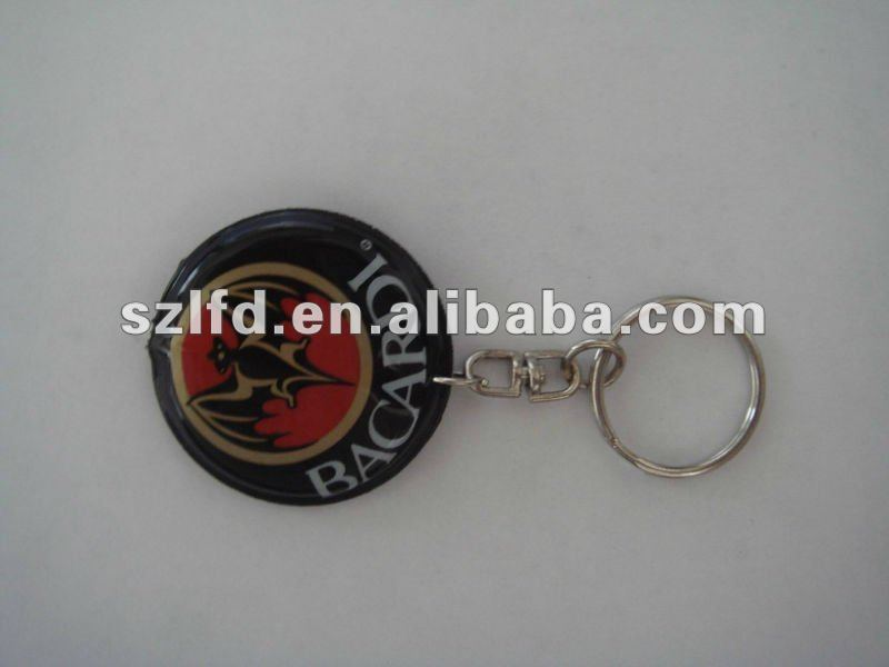PVC inflation LED keychains, reflective keychain with light, promotion plastic key ring