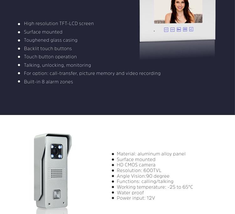 "New 4 wire video intercom system video call watch door lock home video phone with waterproof doorbell and 7"" indoor monitor"