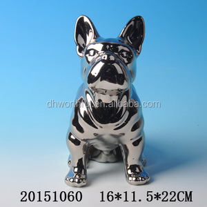 Decorative electroplated silver dog statue for home decoration