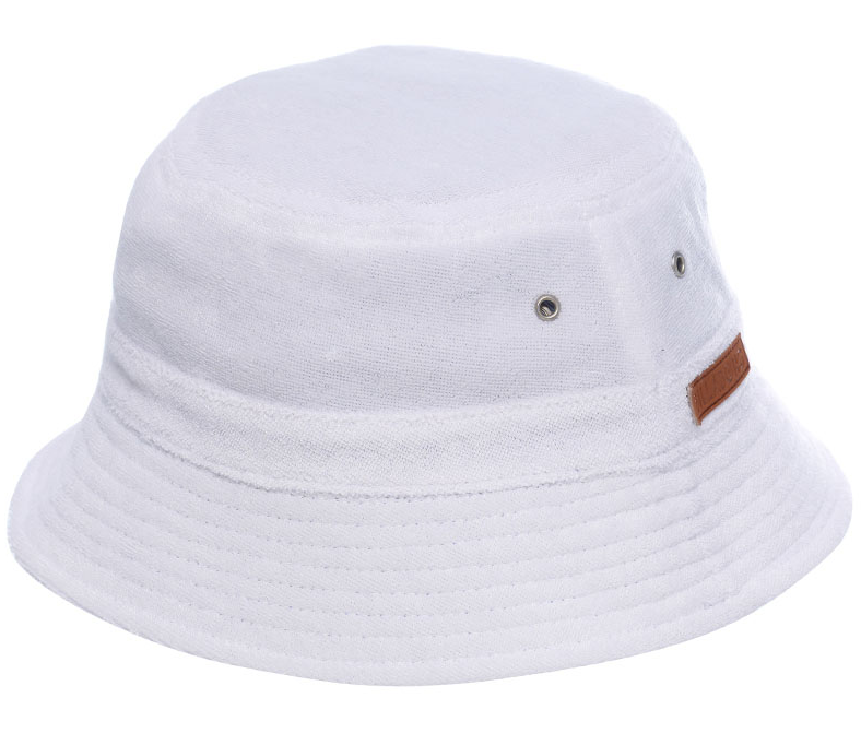 Reversible into white terry towelling Bucket hat Front PU logo patch Washed  denim bucket hat b54b9f91fa4