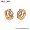 95195 Hot sale popular ladies jewelry simple stylish zircon paved golden hoop earrings