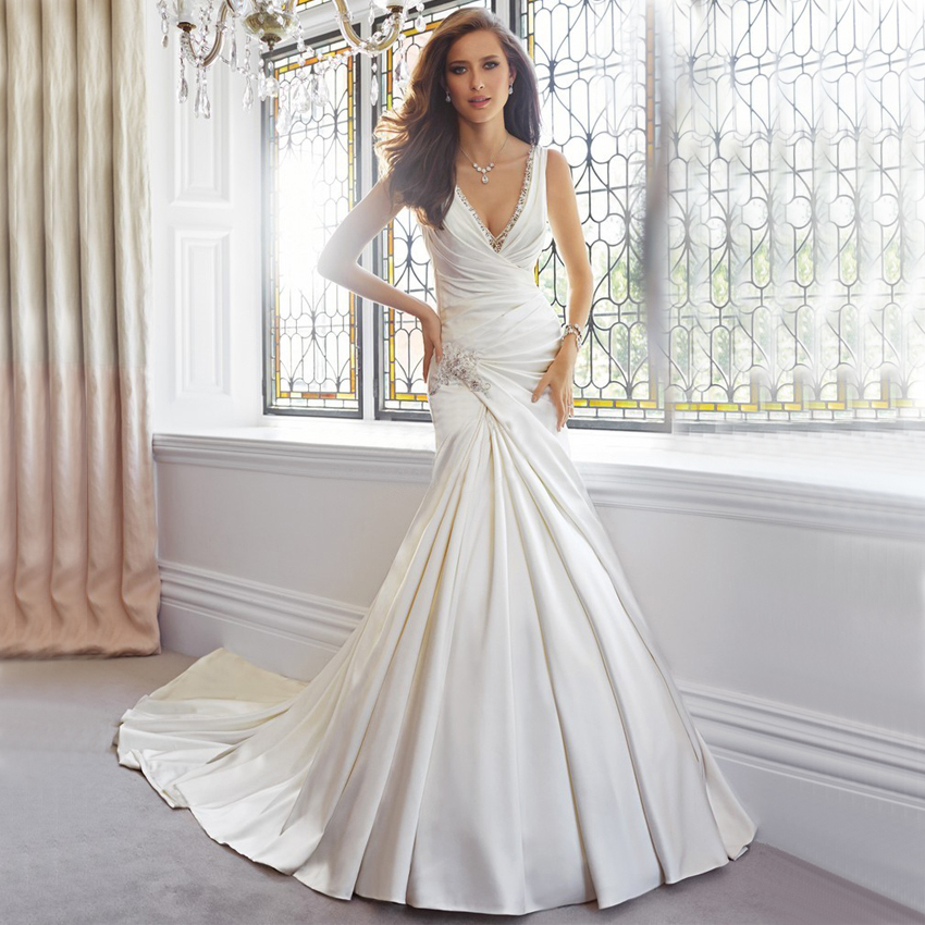 Cost Of Sophia Tolli Wedding Gowns: Vnaix WV473 V Neck Spaghetti Strap Sexy Backless Satin