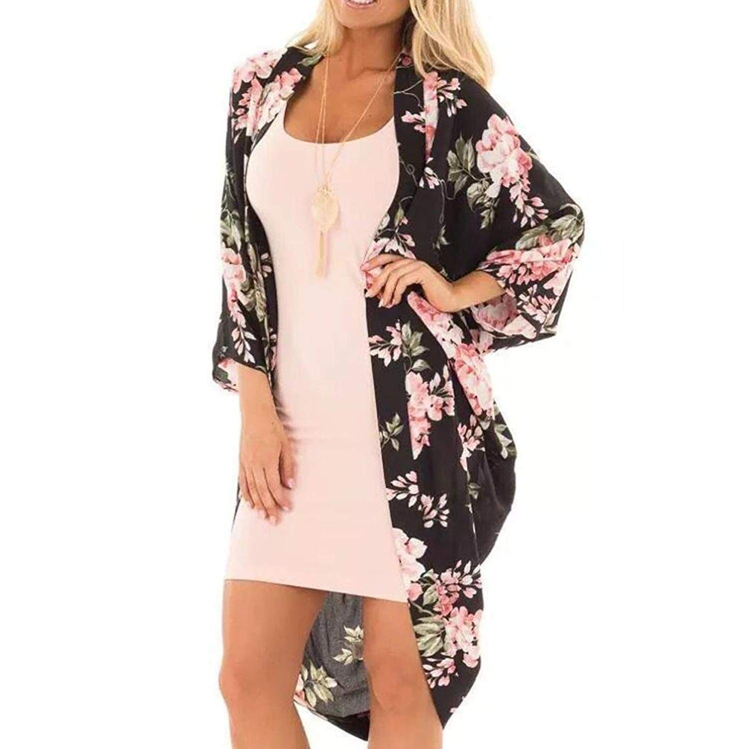 WYTong Clearance Women Ladies Chiffon Kimono Cardigan Floral Loose Long Shirt Tops Open Front