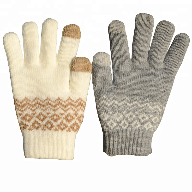 Wholesale Wool Winter Jacquard Knitted Touchscreen Gloves for Iphone Android