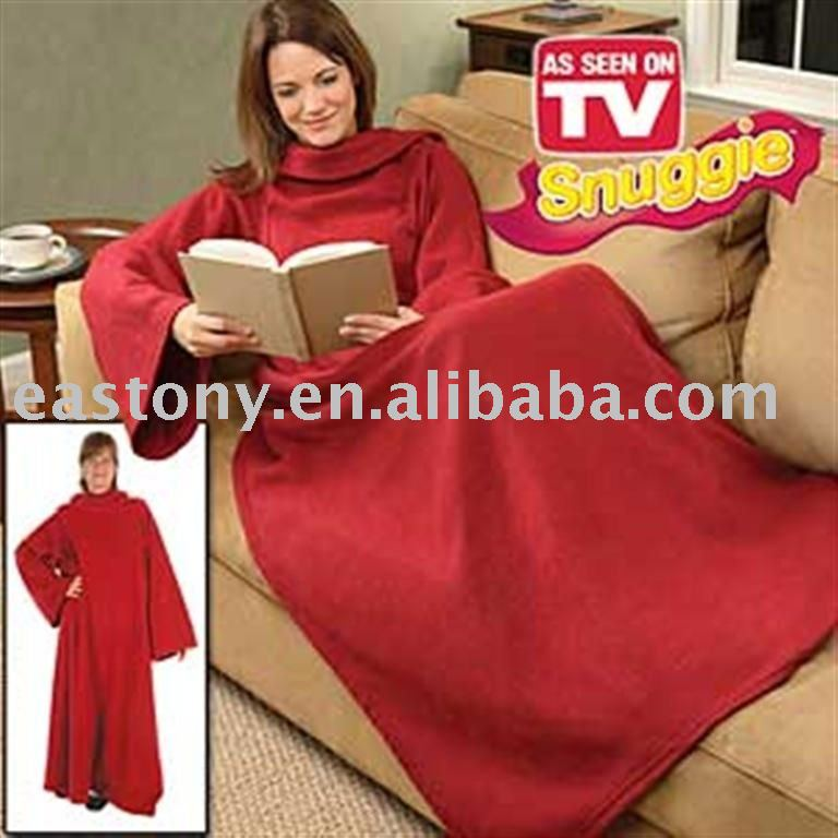 Polar Fleece tv blanket with sleeve of snuggie,AS SEEN ON TV fleece blanket