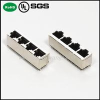 Top entry/Vertical PCB Mounting rj45 4 ports modular jack 8p8c Female Modular Jack