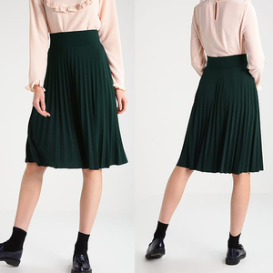 2018 New fashion ladies pleated skirt high waist midi A line skirt black/green/pink