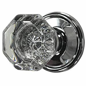 Providence Octagon Crystal Door Knob Set with Victorian Plate Rosette in Polished Chrome (Privacy Bed / Bath)