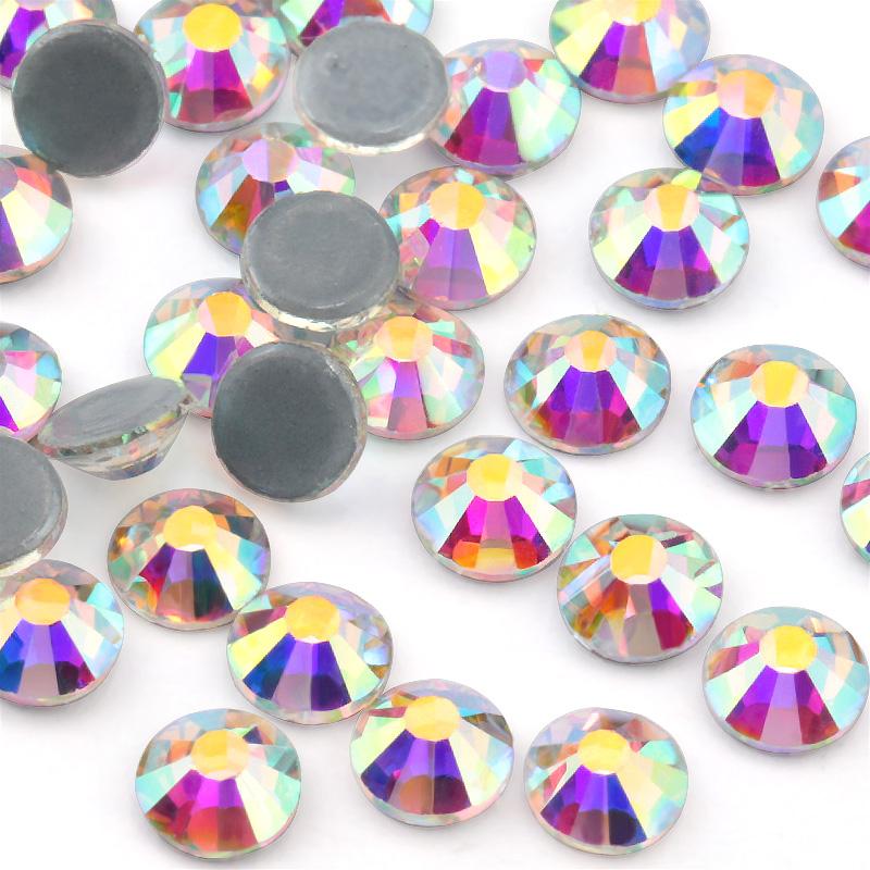 Atacado Todo o Tamanho Cristal Cristal AB Hot Fix Vidro Vidro Cristal Plano Voltar Pedrinhas Para decoração de Vestido